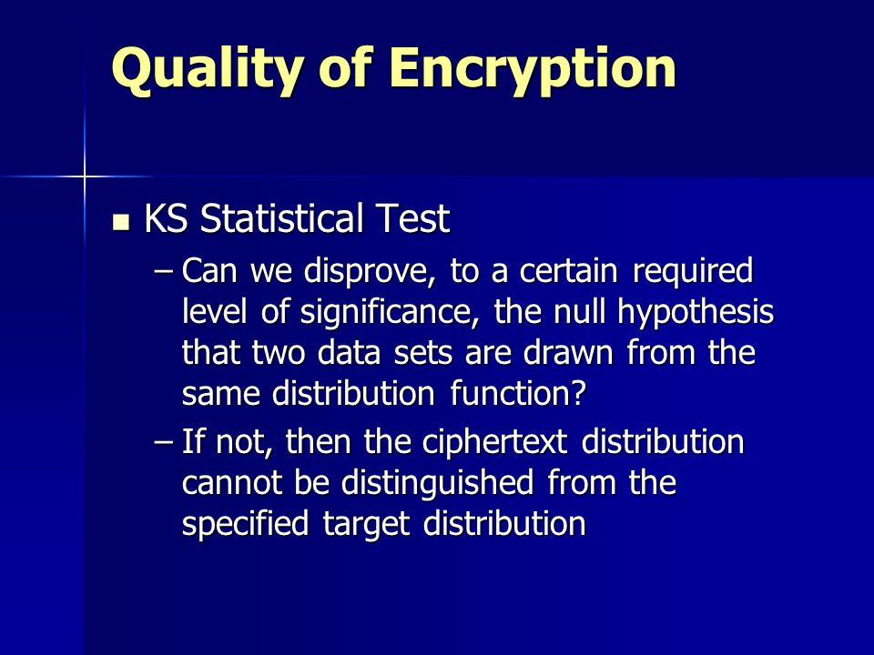 Quality of Encryption KS Statistical Test