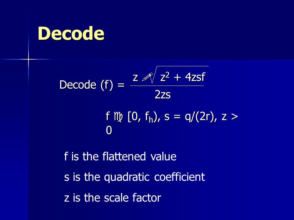 Decode z ! z2 + 4zsf Decode (f) = 2zs