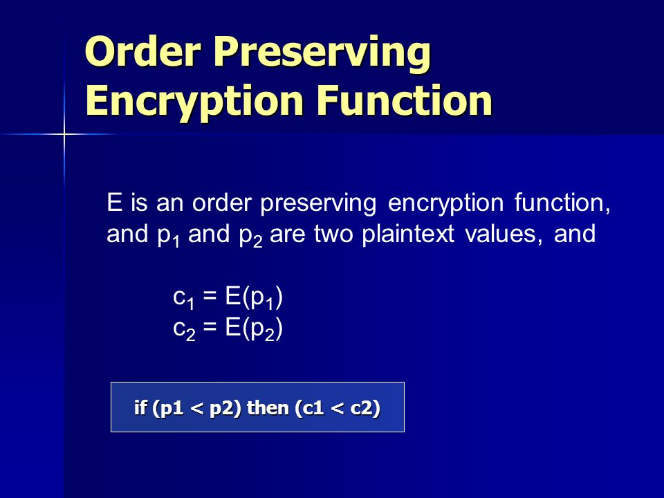 Order Preserving Encryption Function