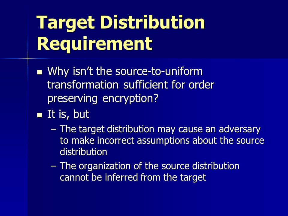 Target Distribution Requirement