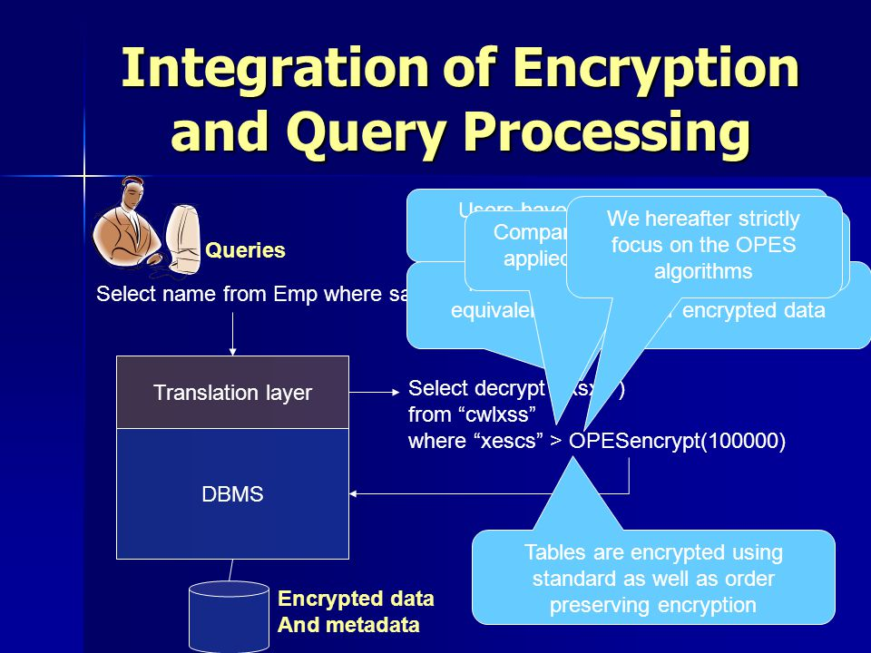 Integration of Encryption and Query Processing