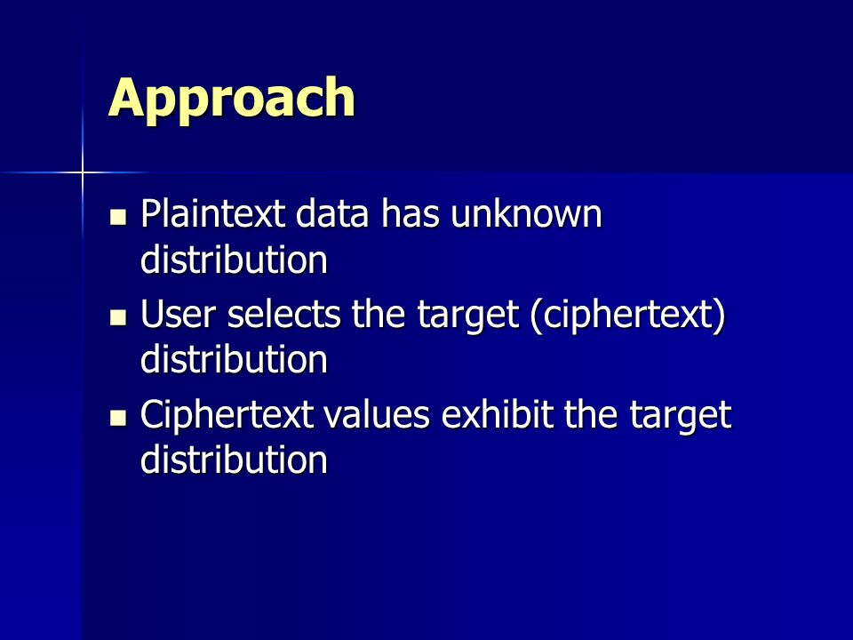 Approach Plaintext data has unknown distribution