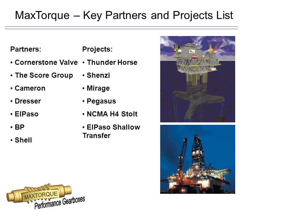MaxTorque – Key Partners and Projects List