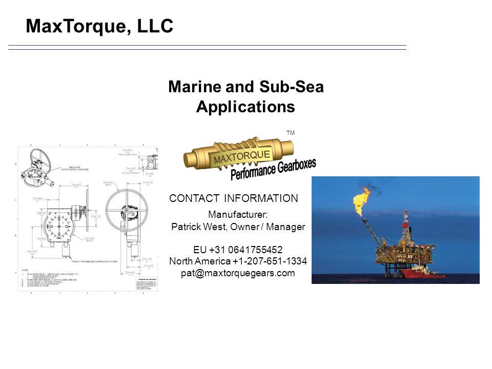 Marine and Sub-Sea Applications