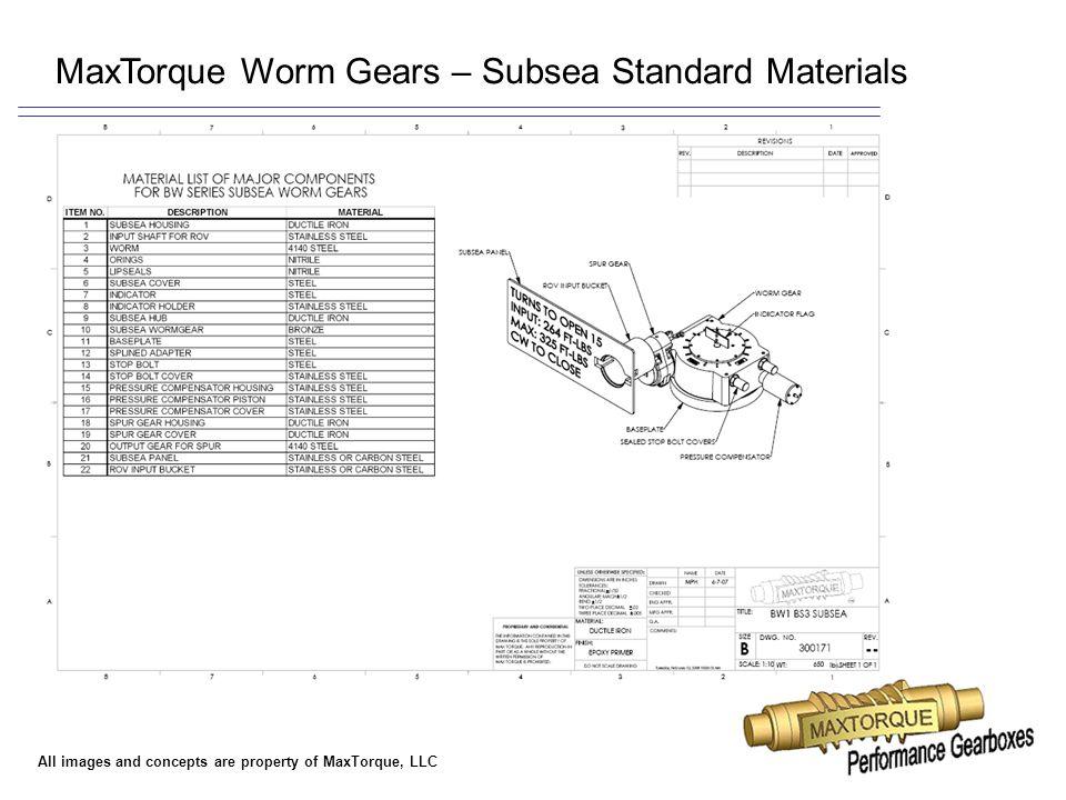 MaxTorque Worm Gears – Subsea Standard Materials