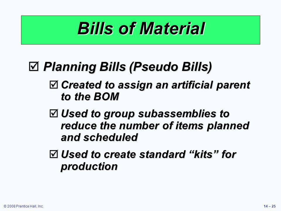 Bills of Material Planning Bills (Pseudo Bills)