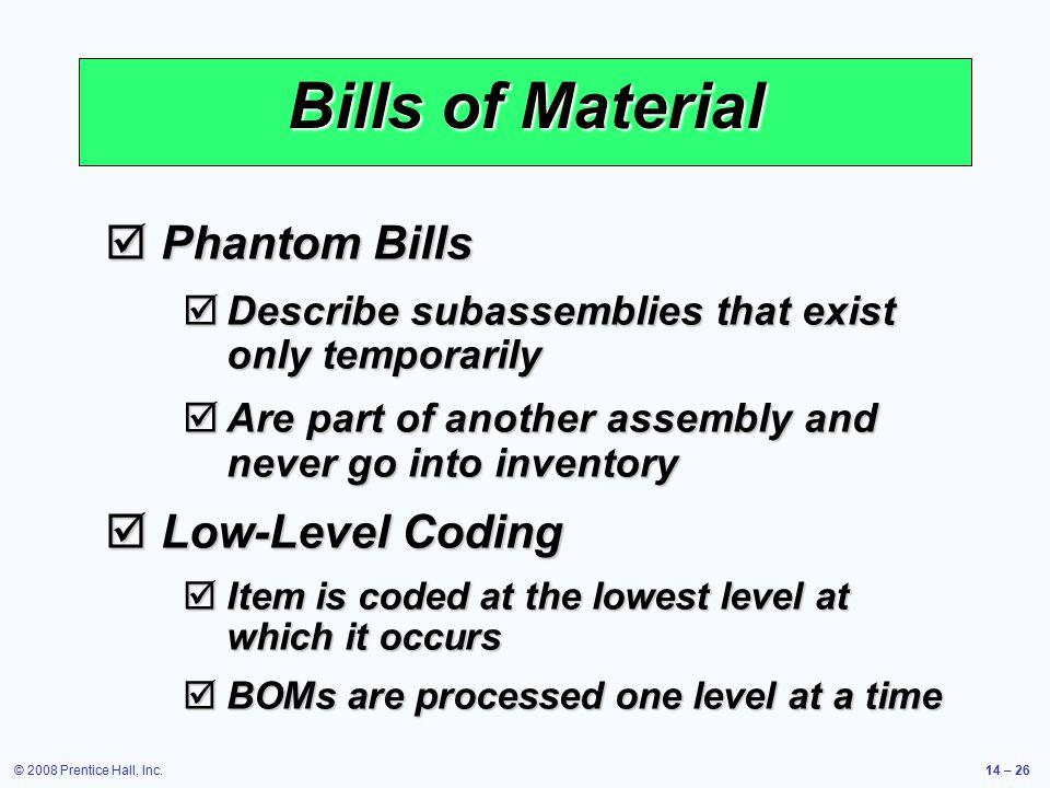 Bills of Material Phantom Bills Low-Level Coding