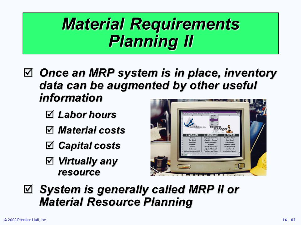 Material Requirements Planning II