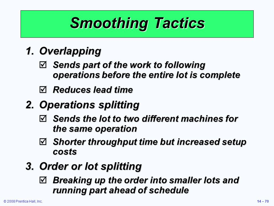 Smoothing Tactics Overlapping Operations splitting