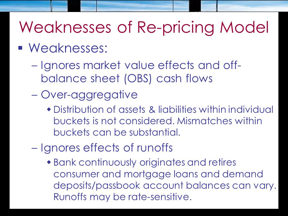 Weaknesses of Re-pricing Model