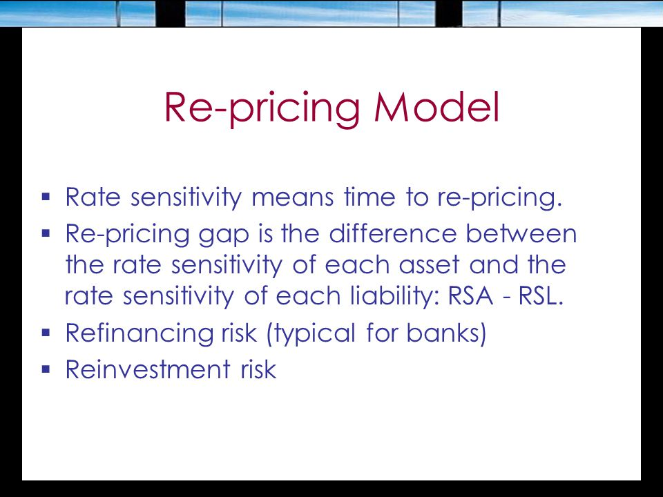 Re-pricing Model Rate sensitivity means time to re-pricing.
