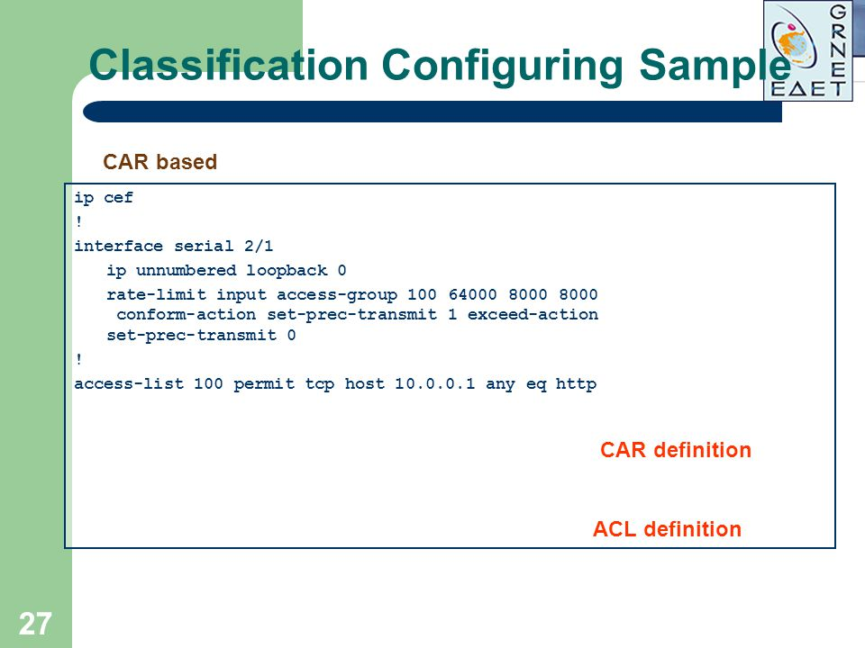 Classification Configuring Sample