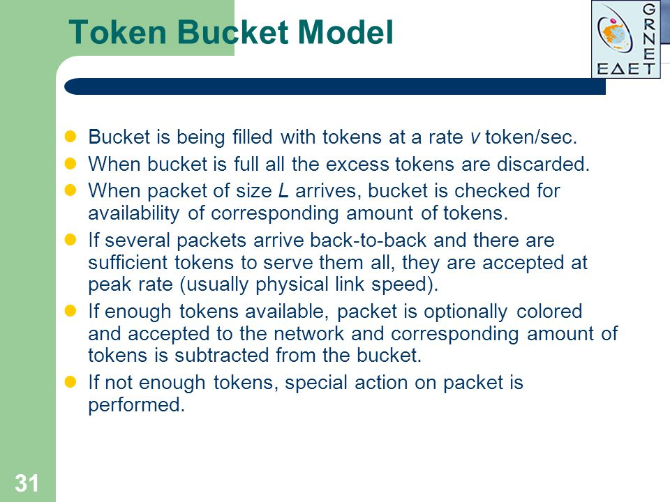 Token Bucket Model Bucket is being filled with tokens at a rate v token/sec. When bucket is full all the excess tokens are discarded.