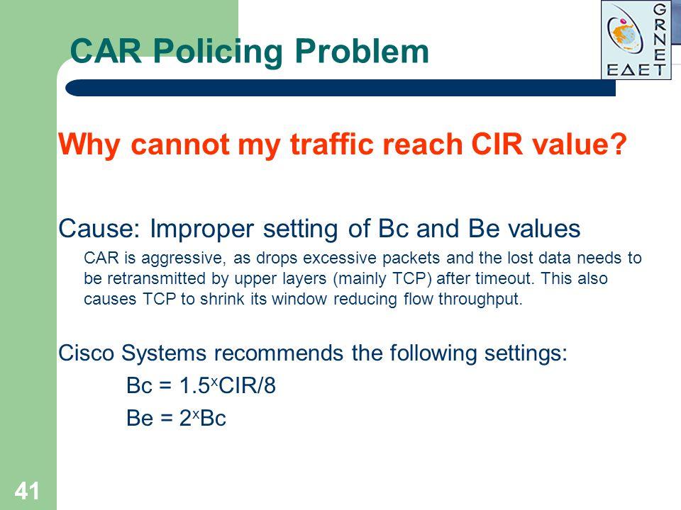 CAR Policing Problem Why cannot my traffic reach CIR value