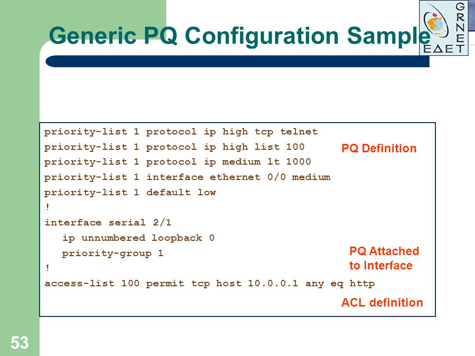 Generic PQ Configuration Sample