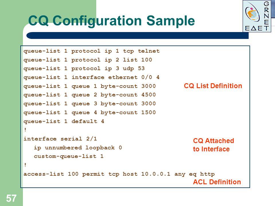 CQ Configuration Sample
