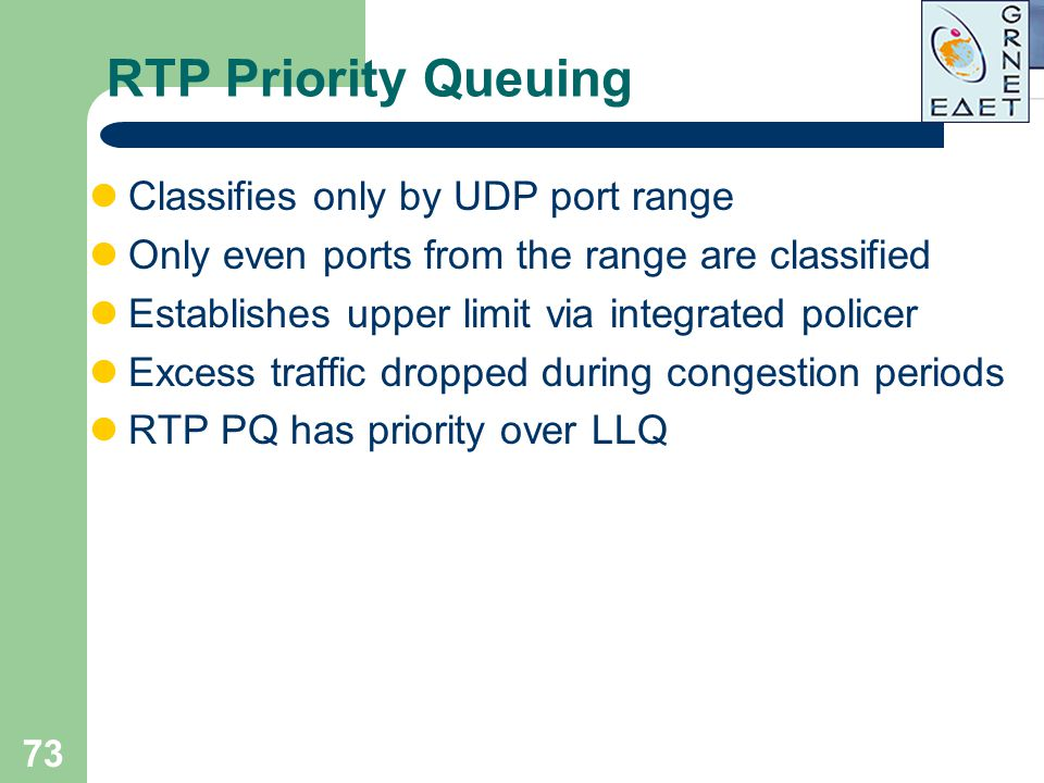RTP Priority Queuing Classifies only by UDP port range