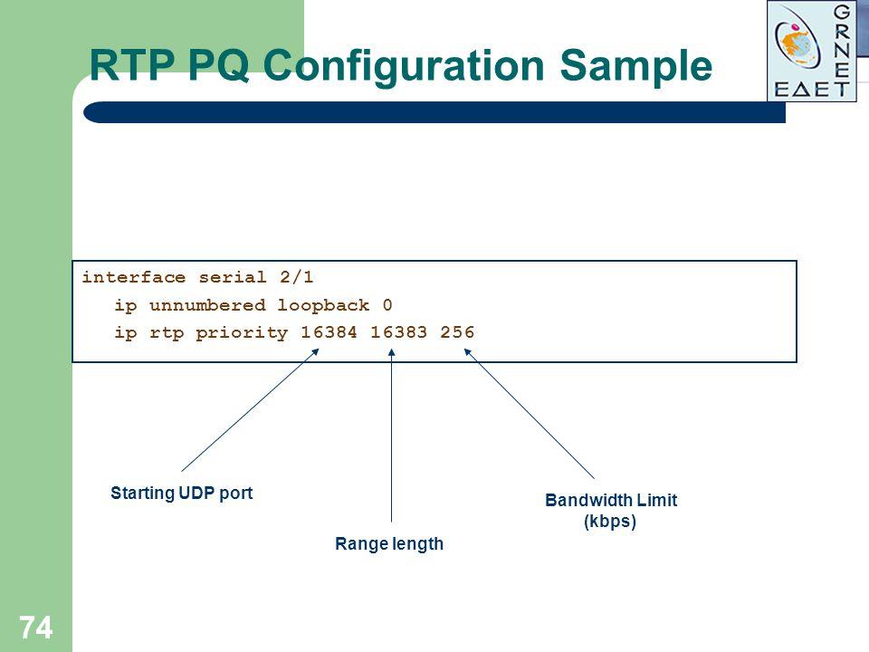 RTP PQ Configuration Sample