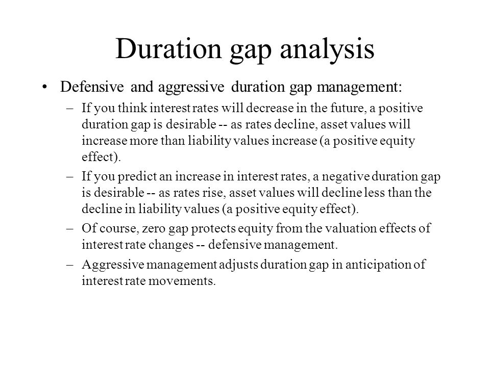 Duration gap analysis Defensive and aggressive duration gap management:
