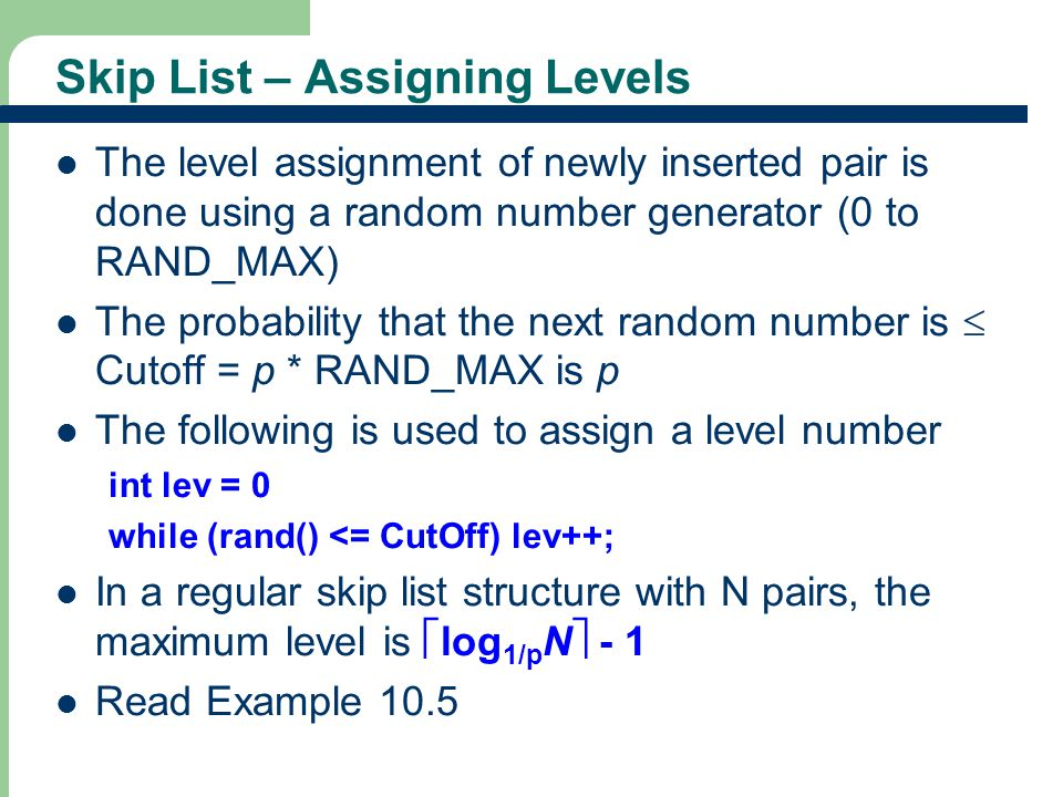 Skip List – Assigning Levels