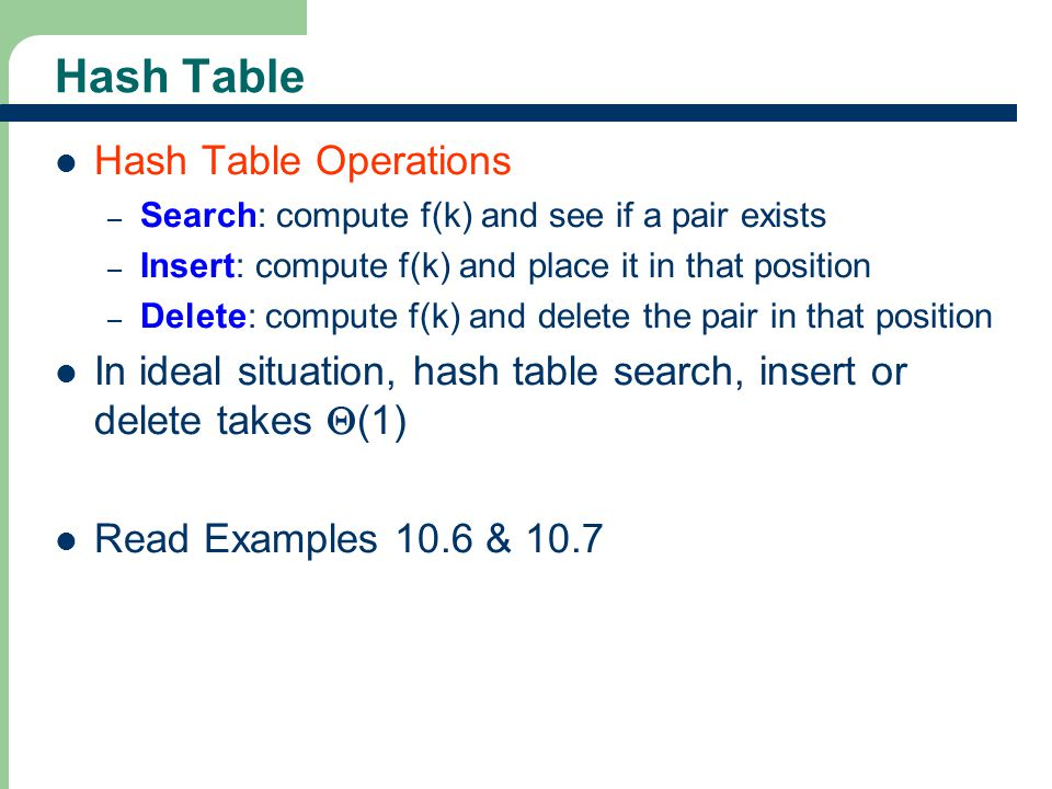 Hash Table Hash Table Operations