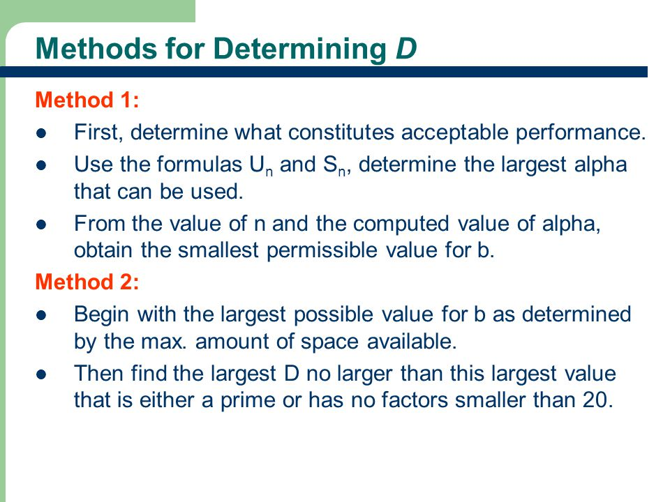 Methods for Determining D