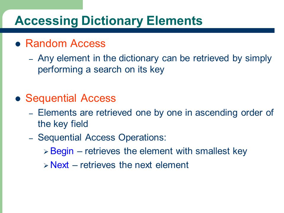Accessing Dictionary Elements