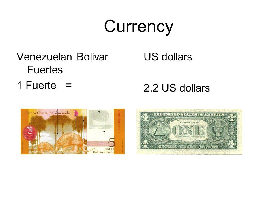 Currency Venezuelan Bolivar Fuertes 1 Fuerte = US dollars