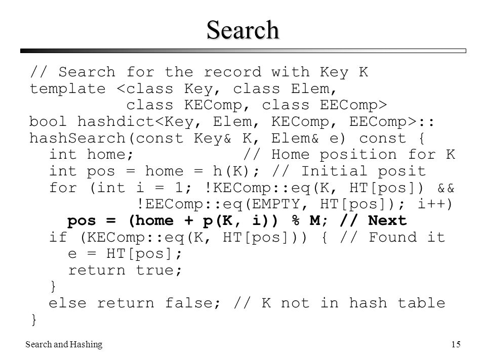 Search // Search for the record with Key K