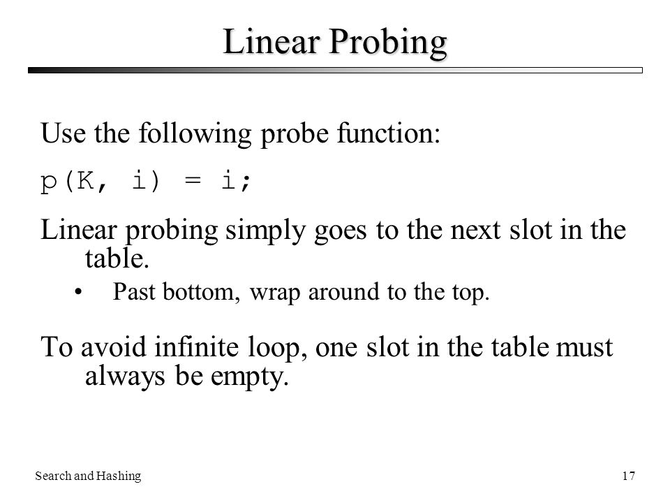 Linear Probing Use the following probe function: p(K, i) = i;