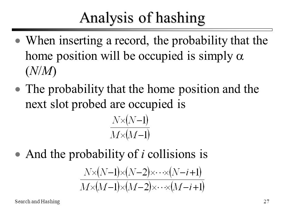 Analysis of hashing When inserting a record, the probability that the home position will be occupied is simply  (N/M)