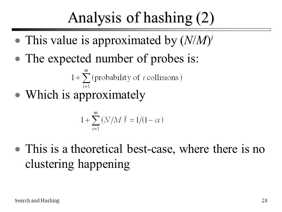 Analysis of hashing (2) This value is approximated by (N/M)i
