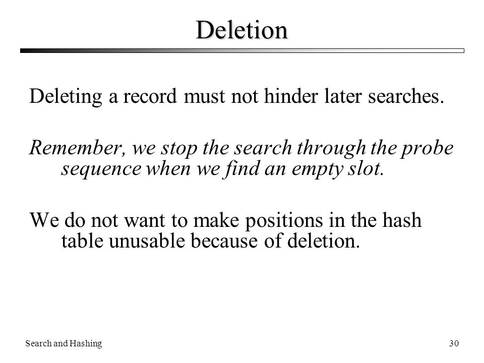 Deletion Deleting a record must not hinder later searches.