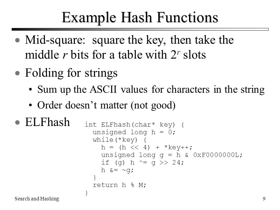 Example Hash Functions