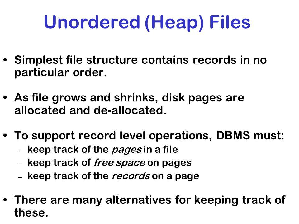 Unordered (Heap) Files