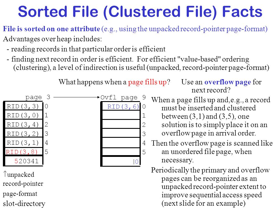 Sorted File (Clustered File) Facts