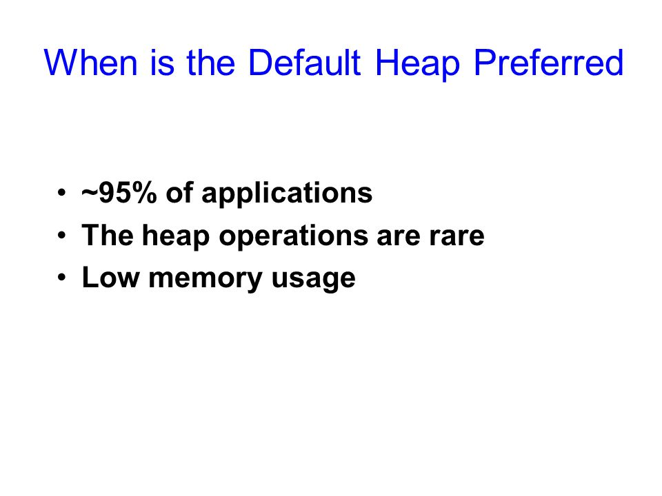 When is the Default Heap Preferred