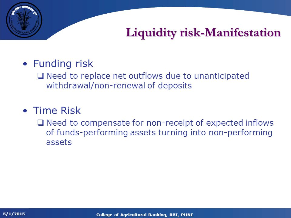 Liquidity risk-Manifestation