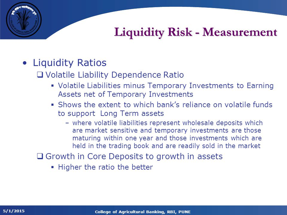 Liquidity Risk - Measurement