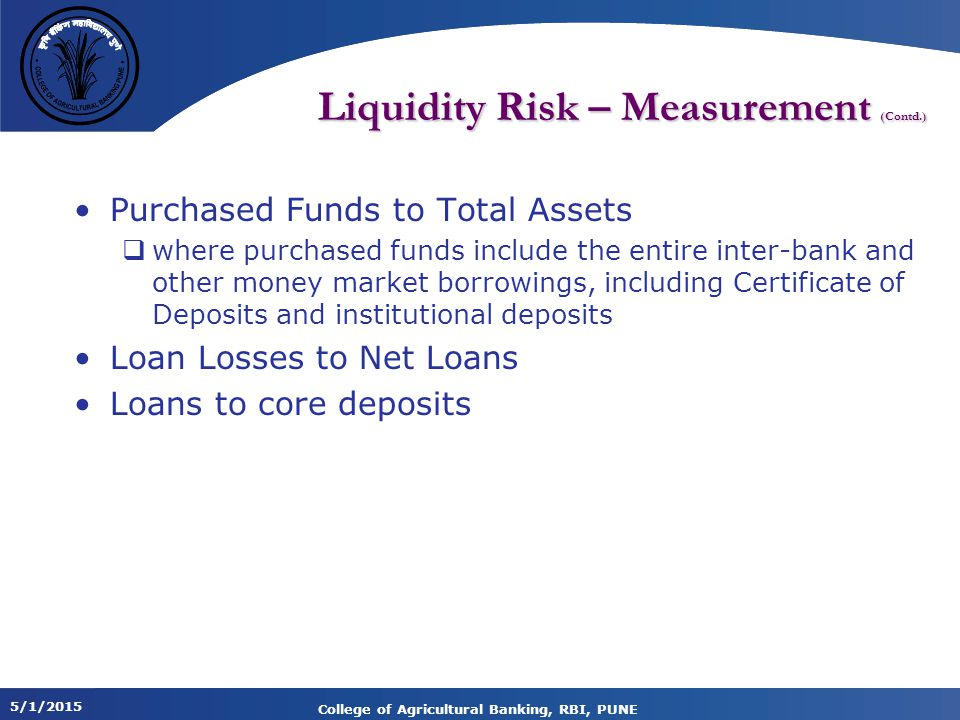 Liquidity Risk – Measurement (Contd.)