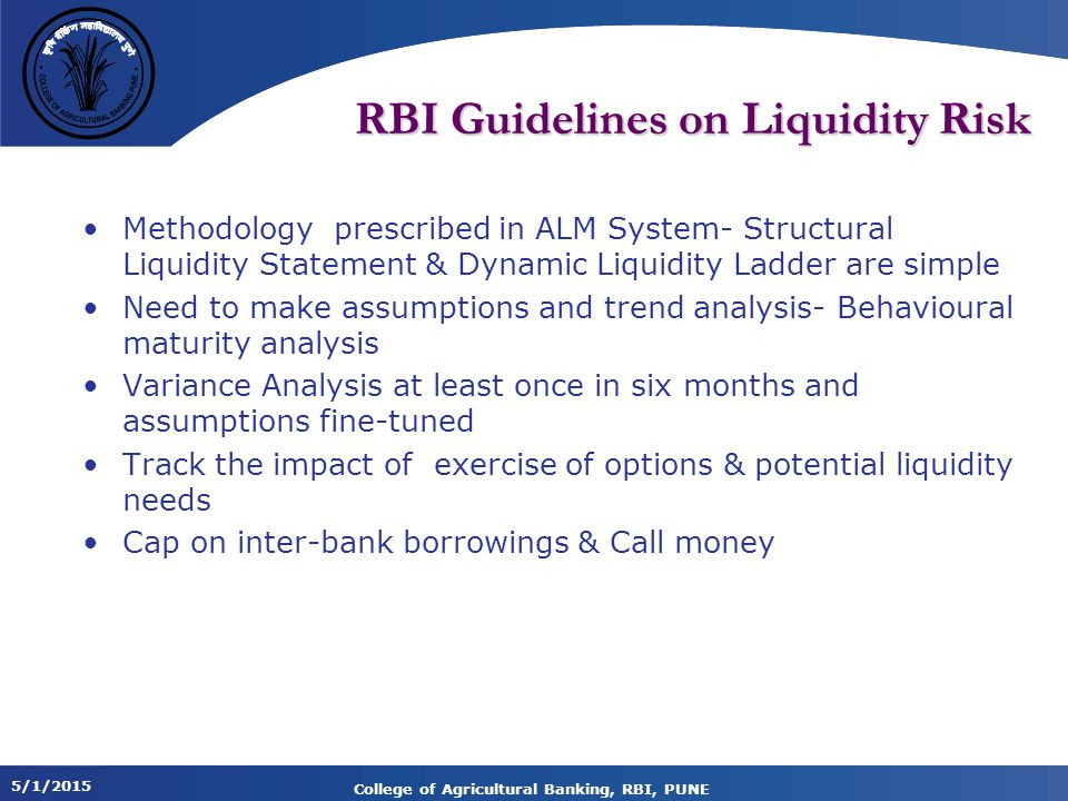 RBI Guidelines on Liquidity Risk