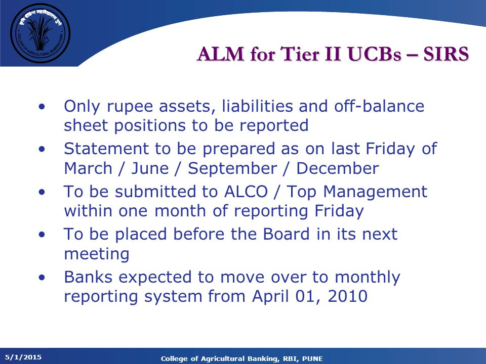 ALM for Tier II UCBs – SIRS