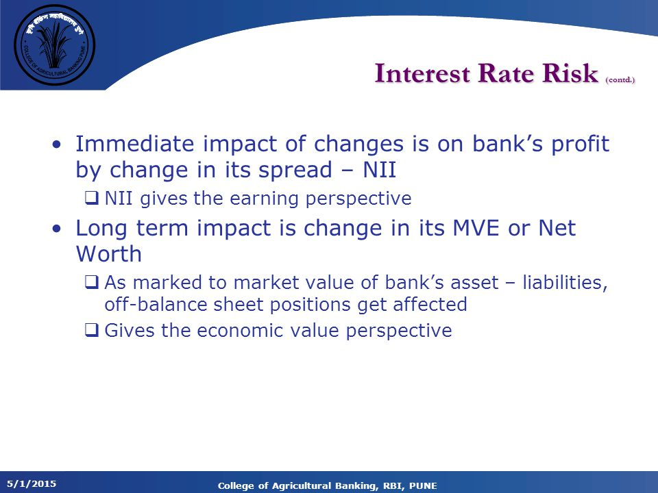 Interest Rate Risk (contd.)