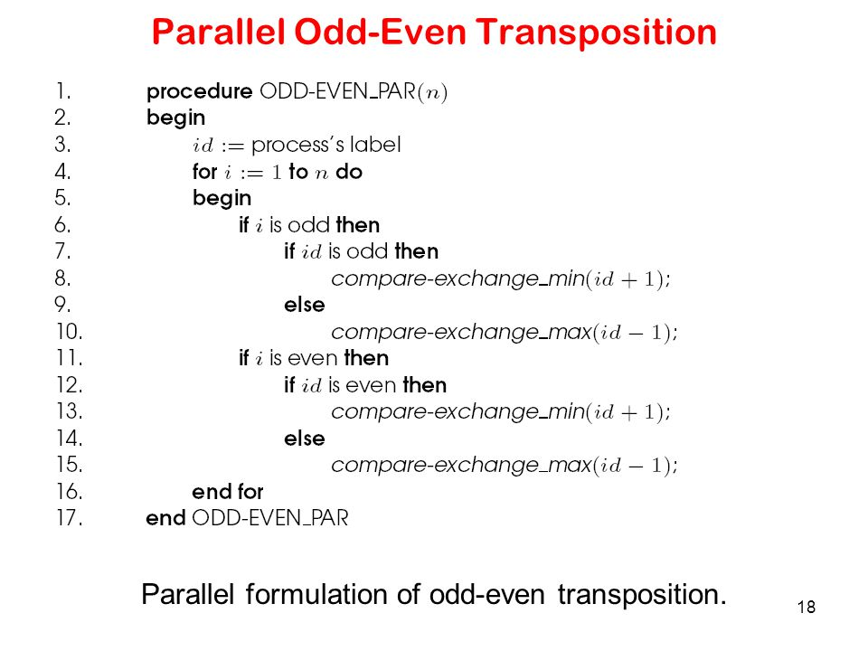 Parallel Odd-Even Transposition