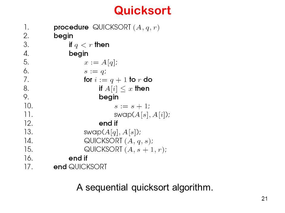 A sequential quicksort algorithm.