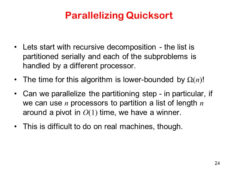Parallelizing Quicksort