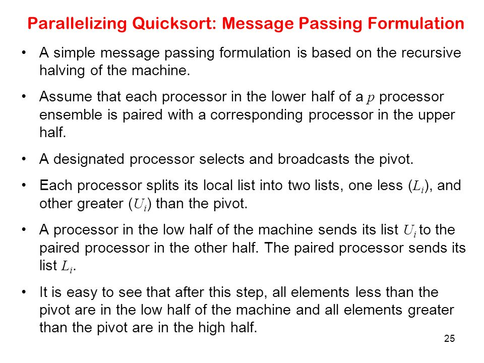 Parallelizing Quicksort: Message Passing Formulation