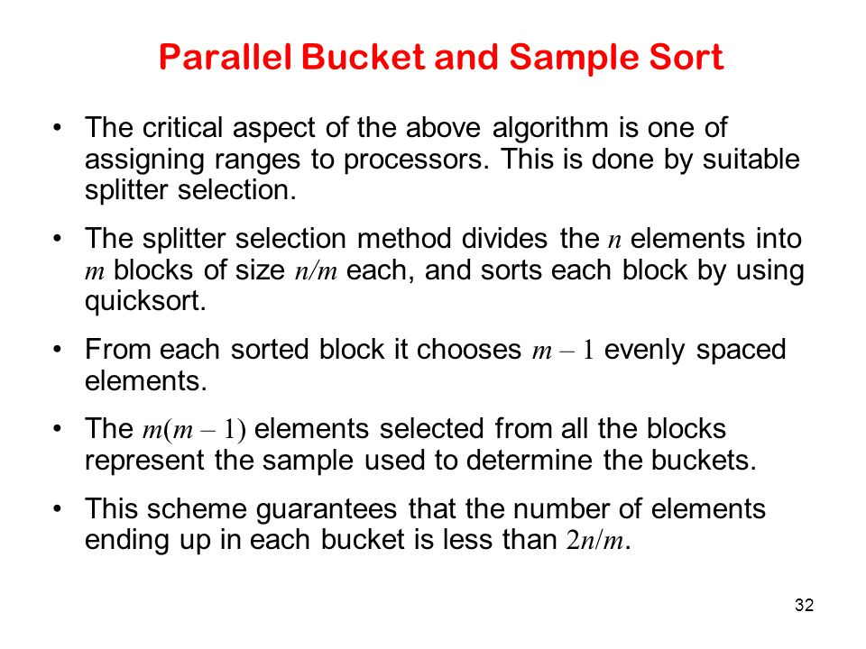Parallel Bucket and Sample Sort
