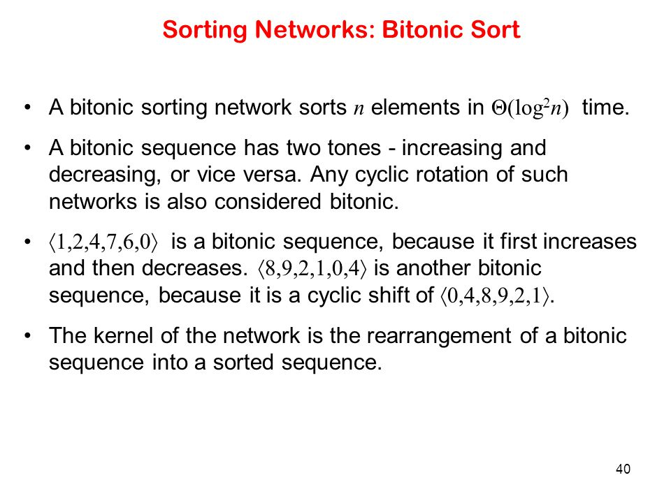 Sorting Networks: Bitonic Sort