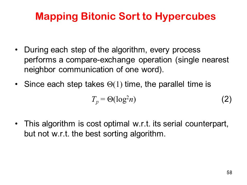 Mapping Bitonic Sort to Hypercubes